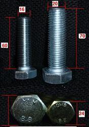 Болты 16х60  и 20х70   DIN 933 высокопрочный 8, 8 оцинкованый