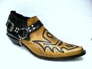 Песочные Казаки Etor мужские туфли замшевые на кожаной подошве. Стиль.
