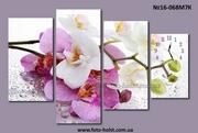 Модульная картина орхидея (с часами,  без часов)