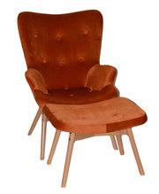 Кресло бархатное  Флорино с пуфом под ноги,  оранжевый